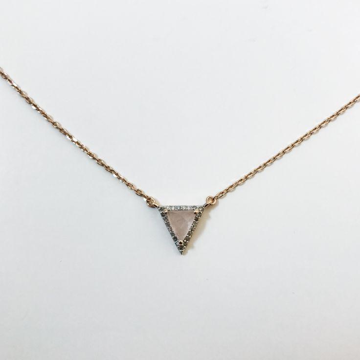 Rose Gold, Pink Quartz & Diamond Necklace