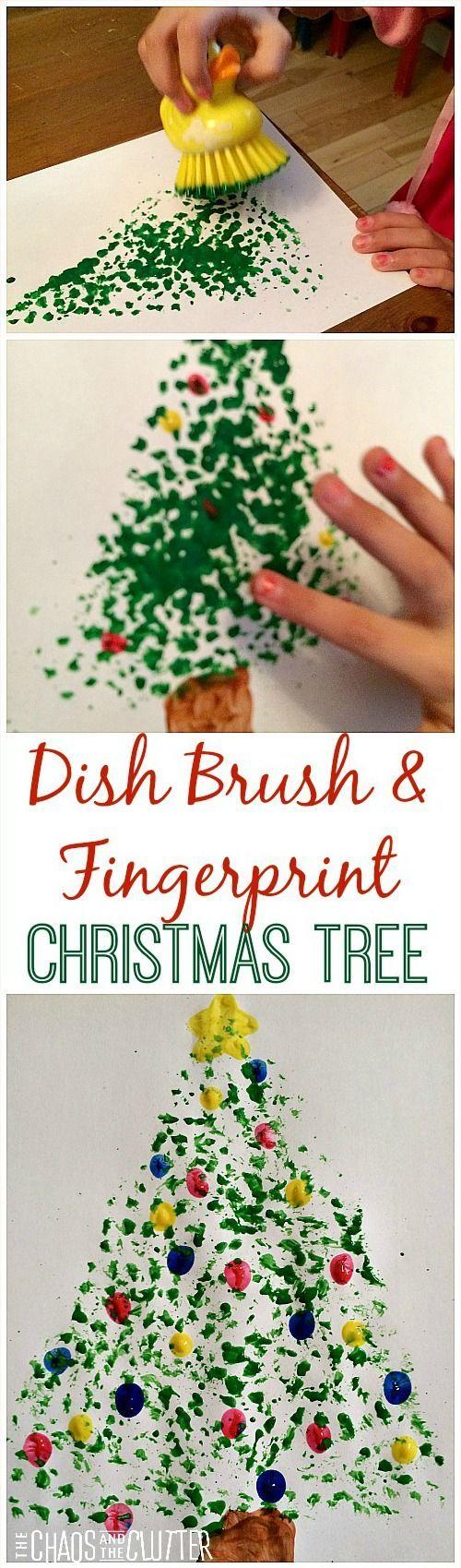 Dish Brush and Fingerprint Painted Christmas Tree - so cute!                                                                                                                                                                                 Mais