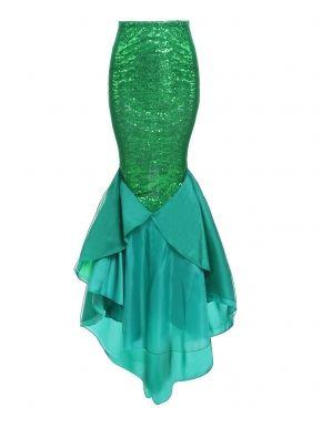 Mujeres Halloween traje sirena pez cola falda cintura alta falda Maxi asimétrica de lentejuelas