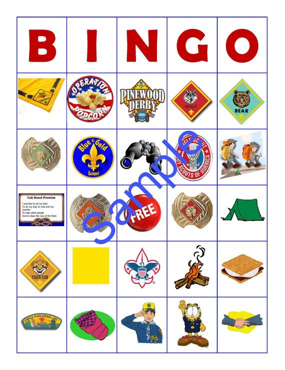 10 Card Cub Scout Bingo by JenJensPlace on Etsy