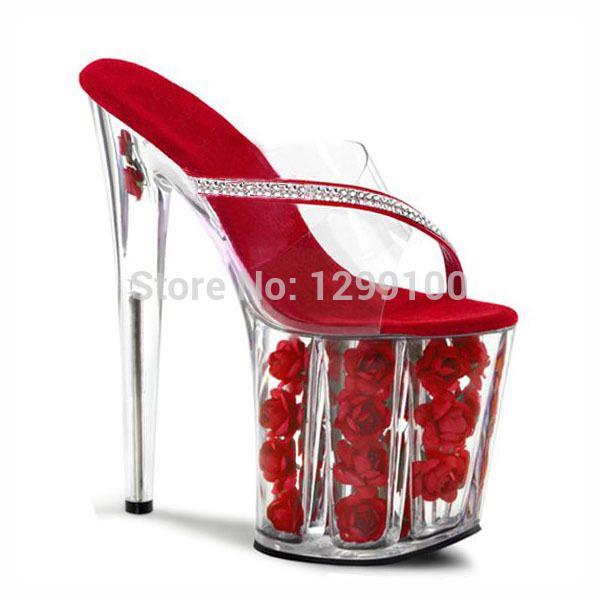 Сексуальное экзотическая танцовщица обувь 8 дюймов розовые цветы для свадьбы хрустальные башмачки 20 см туфли на высоком каблуке красная роза платформа женщин тапочки