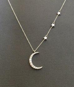 Plata Media Luna Luna collar de estrellas estrellas y Luna