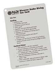 PADI Discover Scuba Diving Instructor Cue Card PADI Discover Scuba Diving instructor cue card provides a quick reference guide whilst in the water http://www.MightGet.com/january-2017-13/padi-discover-scuba-diving-instructor-cue-card.asp