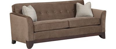 """Set a striking space with this sleeper sofa. Button tufting captures midcentury style while flared arms add drama. Tailored with self–welting for a polished touch. Two down–blend accent pillows soften the look. Loose seat cushions are made with 1.8–density foam and are supported by no–sag springs. Drift off on the queen innerspring mattress.   clStudio  With the mattress out, the depth of this piece is 92"""". Seat height: 21. Seating area: 71W x 24D.   color   Grey Fuller"""