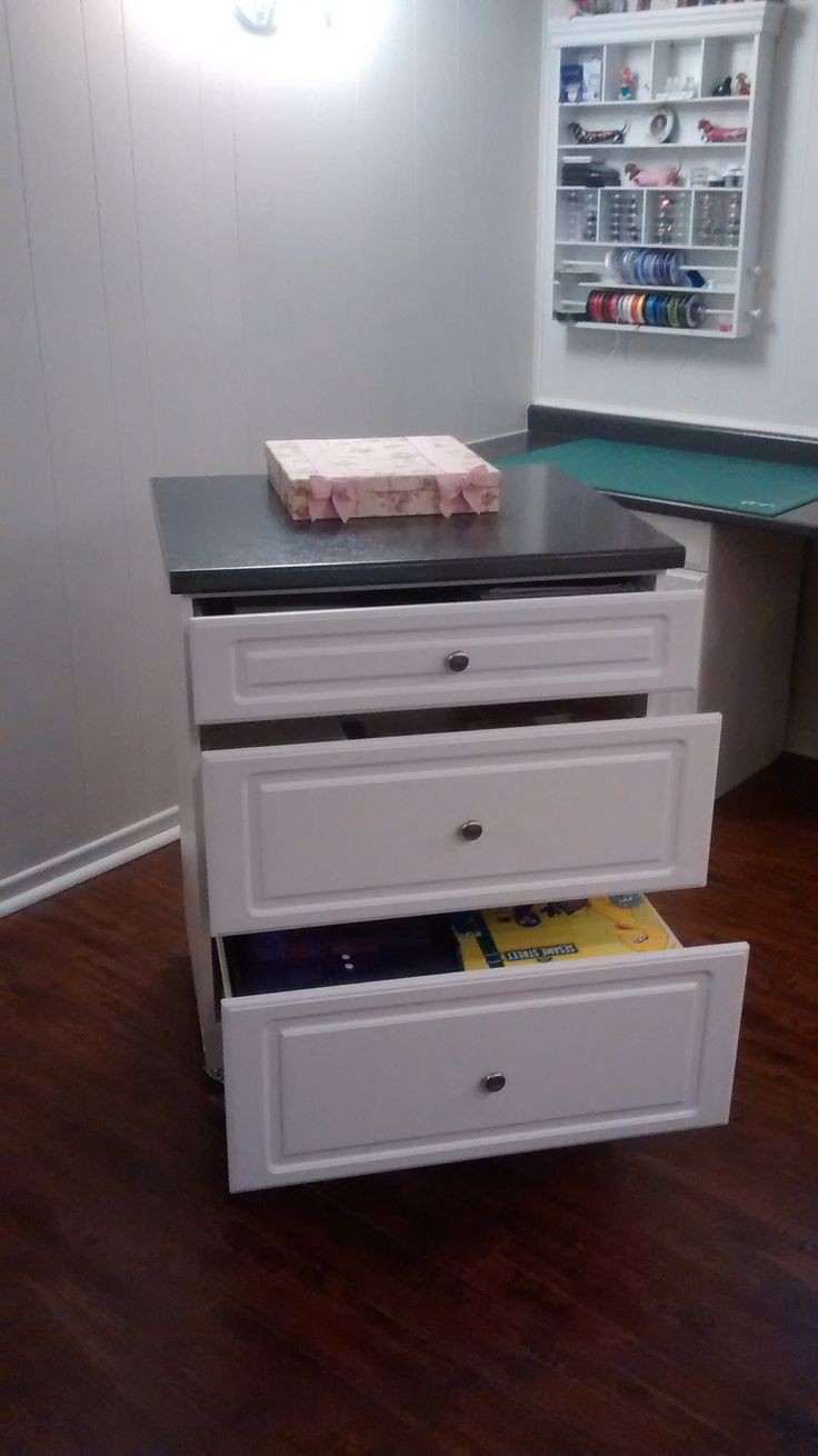 Three drawer island for paper and cutting tool (punches, etc.) storage.