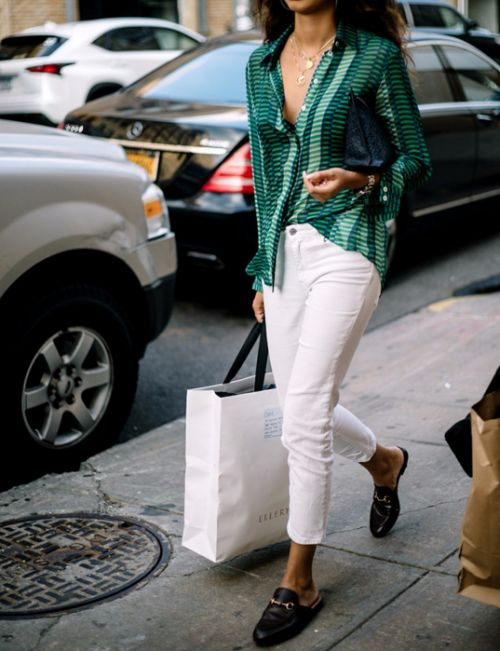 White pants, blouse & loafers