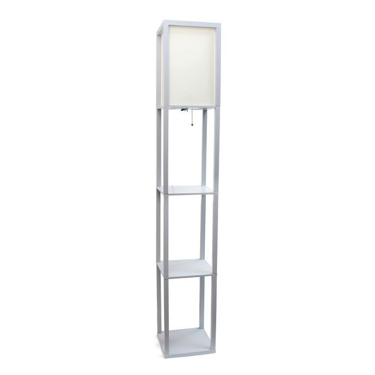 Simple Designs LF1014 Floor Lamp With Shelf   LF1014 GRY