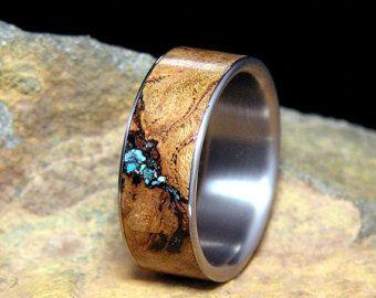 Black Cherry Burl Turquoise Inlay Titanium Wedding Band or Ring