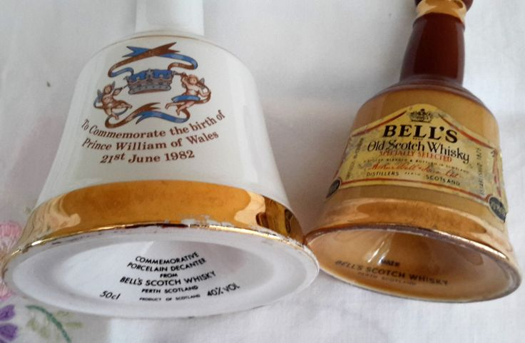 2 Bells Whiskey decanters, Collectible Wade Porcelain Whiskey bottles, Commemorative Whiskey bottle for Birth Of William 1982. by NanaBarbarastreasure on Etsy