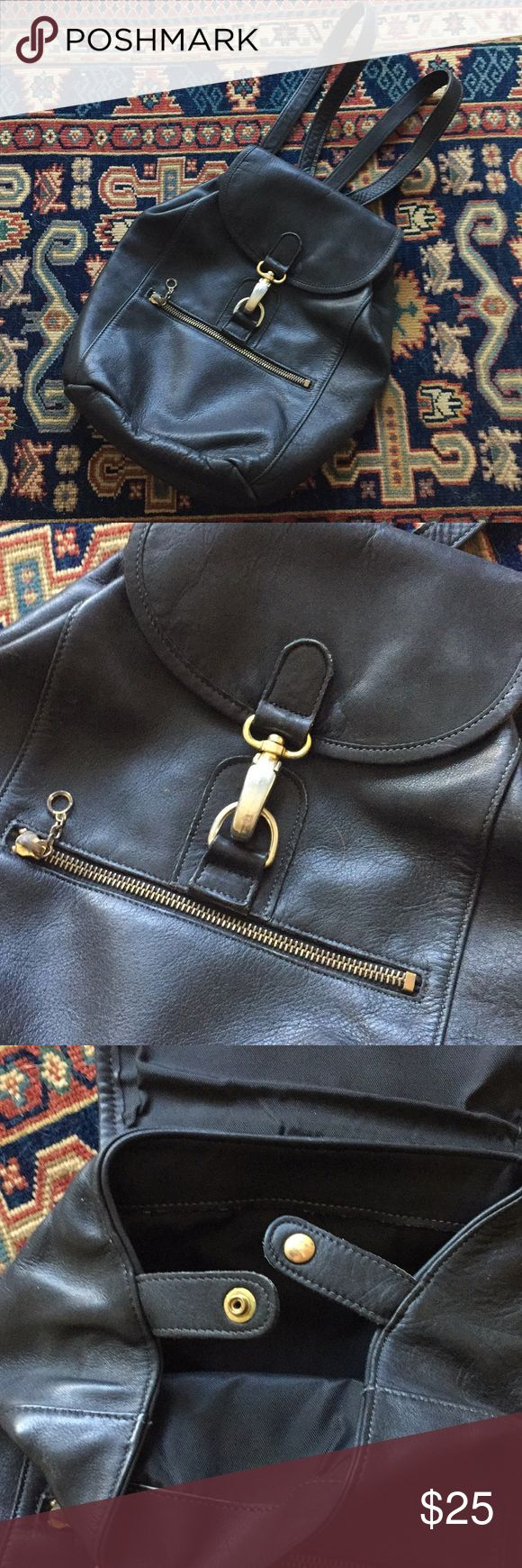Vintage Leather Backpack Vintage used condition. Wear on zipper but otherwise in great condition. Vintage Bags Backpacks