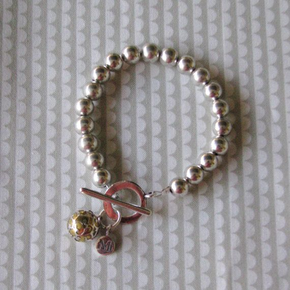 Two tone Harmony ball bracelet with you choice of sterling silver letter pendant