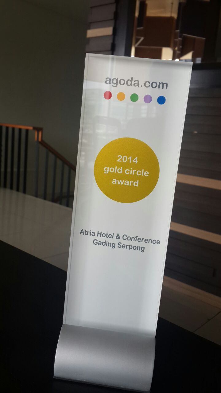 "Atria Hotel & Conference Gading Serpong proudly announce that we have been awarded the ""2014 Gold Circle Award"". We would like to express our gratitute for your loyalty and confidence in Atria Hotel and Conference Gading Serpong as your trusted partner for accommodation."