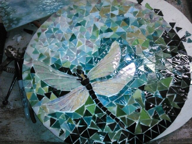 The latest one! Dragonfly mosaic lazy Susan, ready to grout and sell!