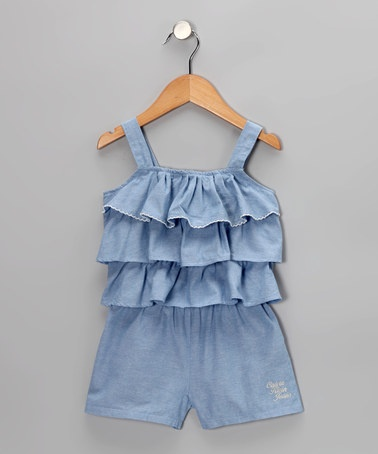 Take a look at this Chambray Tiered Ruffle Romper - Infant & Toddler by Calvin Klein on #zulily today!