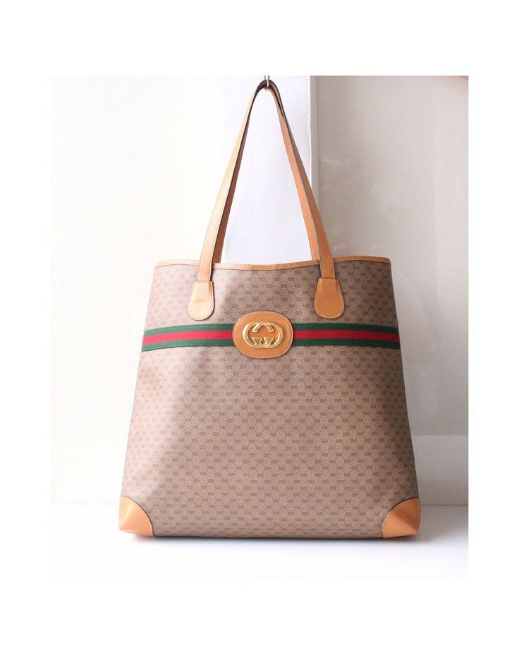 Gucci Bag, Big Logo Vintage Red Green Monogram Shoulder Large Handbag Authentic Purse by hfvin on Etsy  #gucci #largebag #red #green #monogram #hfvin