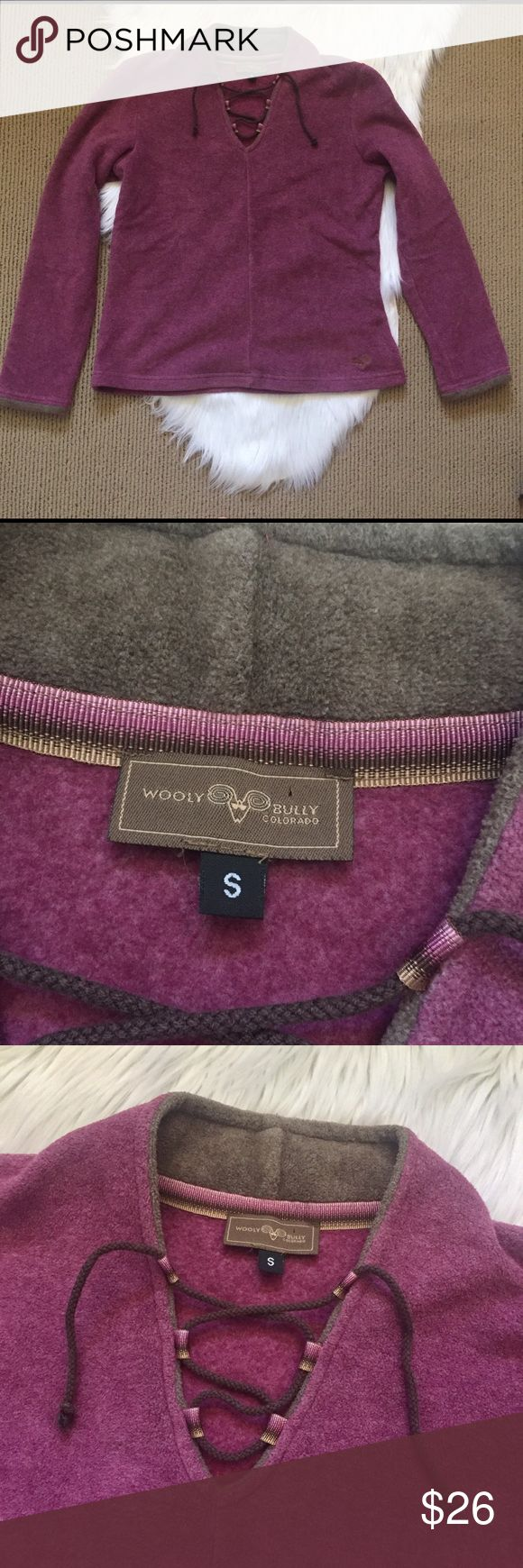 """Wooly Bully Colorado Fleece Pullover Jacket SO soft! Like new! Lace up v-neck polar fleece sweatshirt. Slightly fitted style. ▪️Size Small ▪️60% polyester 40% cotton. ▪️19"""" armpit to armpit and 23"""" shoulder to hem. ▪️A heather plum color. Wooly Bully Tops Sweatshirts & Hoodies"""
