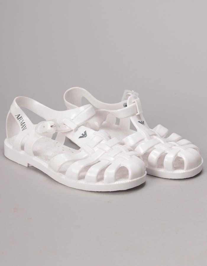 Armani White Logo Jellies | Accent Clothing