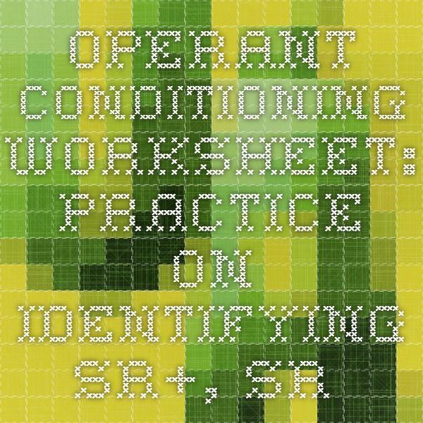 Operant Conditioning Worksheet Practice On Identifying Sr Sr Sp And Sp Bcba Operant Conditioning Behavior Analyst