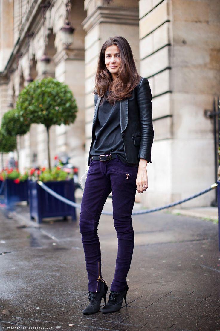 Bárbara Martelo, stylist, simplesmente perfeita de Balmain. E esta calça de camurça roxa? Linda!!!!!