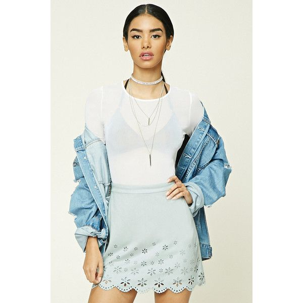 Forever21 Faux Suede Mini Skirt ($16) ❤ liked on Polyvore featuring skirts, mini skirts, light blue, light blue skirts, floral mini skirt, scalloped skirt, short mini skirts and flower print skirt