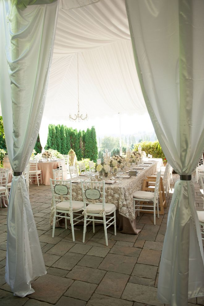 In love with this look for a wedding! Antique Ivory Rosette table linens with Mocha Lamour make this a dream wedding