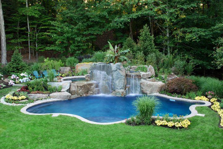 Found it! My dream backyard!Swimming Pools, Landscaping Ideas, Landscapes Ideas, Backyards Pools, Dreams Backyards, Pools Landscapes, Landscapes Design, Pools Design, Backyards Landscapes