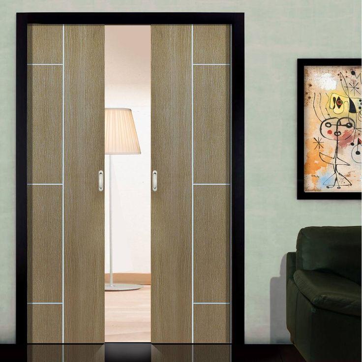 Double Pocket Nuance Arabica Coffee sliding door system in three sizes. #pocketdoors #pocketdoorpair #interanlpocketdoorpair