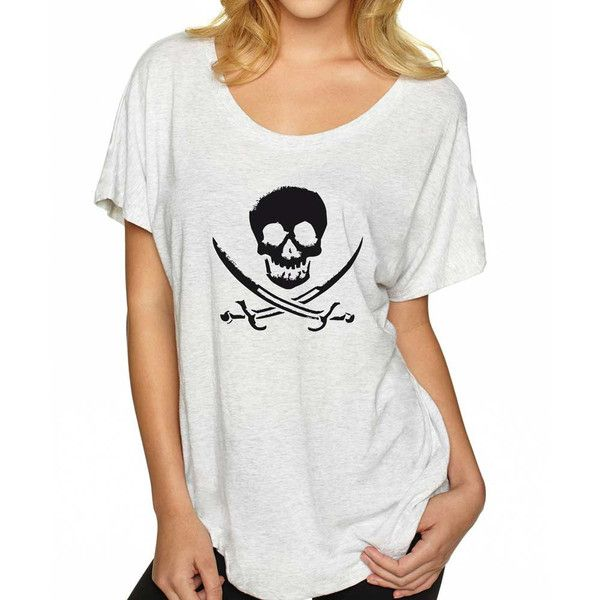 Pirate Shirt Super Soft and Flowy Off the Shoulder Women's Tee Funny... (26 AUD) ❤ liked on Polyvore featuring tops, t-shirts, red, women's clothing, red shirt, loose fit t shirts, white t shirt, jersey t shirt and loose fitting t shirts