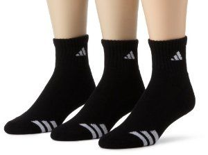 adidas Men's Cushioned 3ST 3-Pack QTR Sock, Black/White, Shoe Size 6-12: Sports & Outdoors