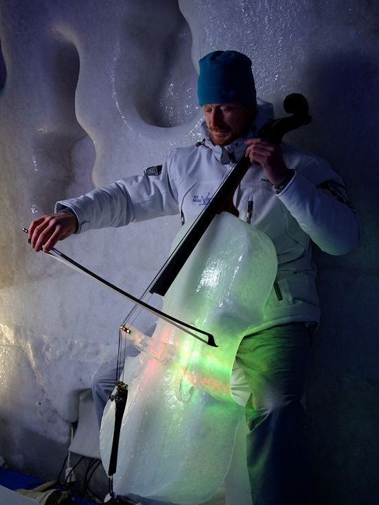 Ice Music - this band makes their instruments from ice and embeds lights inside. They've made cellos, violins, violas, guitars, xylophones, spherical drums, etc. They play classical, rock, pop, bluegrass, and more (via Erin)