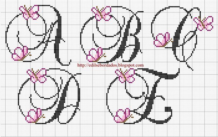 Butterfly alphabet (A-E)