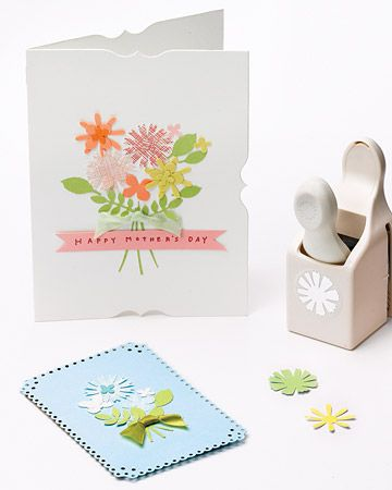 >>    Punched Bouquet Card  This sweet bouquet card, created using flower craft punches, is a thoughtful idea for birthdays, or any other occasion.  How to Make the Bouquet Card