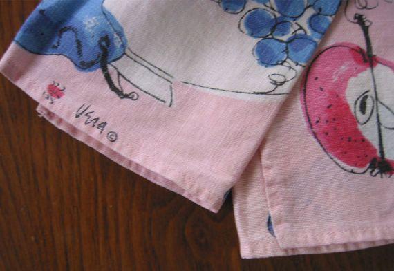 Vera Neumann Ladybug Logo Tea Towel Pink with Fruitbowl