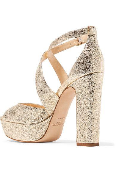 2c1cc742a83d Jimmy Choo - April 120 Metallic Crinkled-leather Platform Sandals - Gold