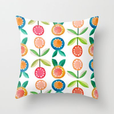 Water colour flowers Throw Pillow by catherineinsch - $20.00