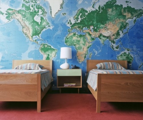 World map...my husband and I love to travel and love geography. This world mural might be fun to wake up to on a bedroom wall.