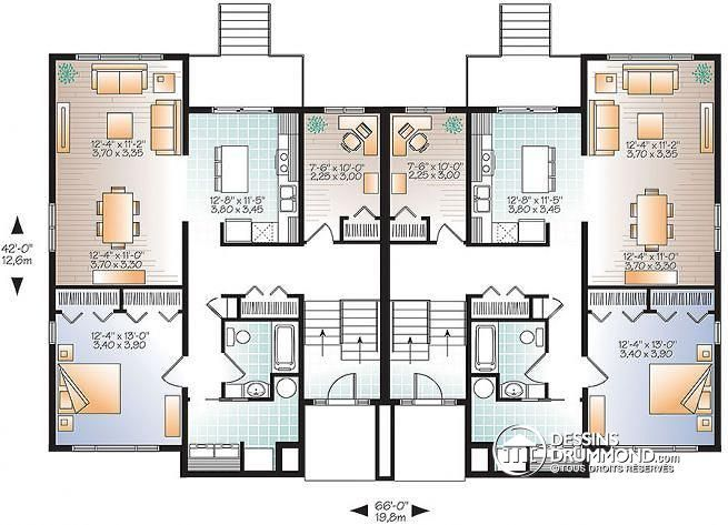 59 best mod les de maison jumel e plans de duplex plans for Plan maison duplex 4 chambres