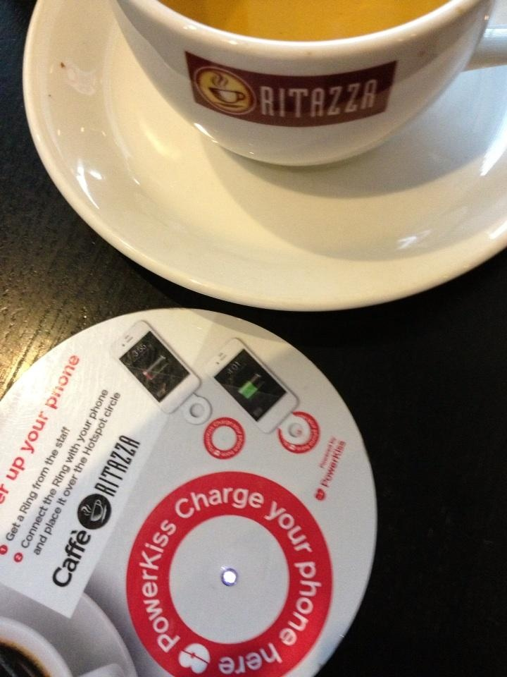 Wireless charging spot at Cafe Ritazza!