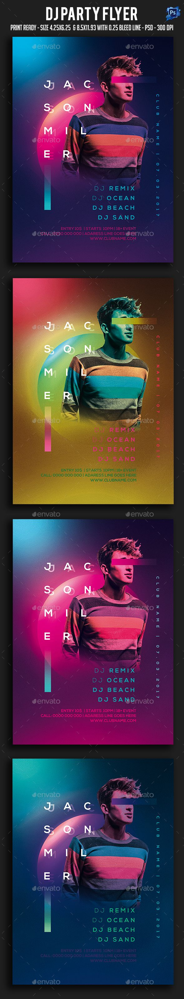 Dj Party Flyer — Photoshop PSD #electronic #birthday • Download ➝ https://graphicriver.net/item/dj-party-flyer/20230813?ref=pxcr