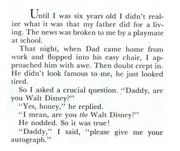 A letter from Walt Disney's daughter.