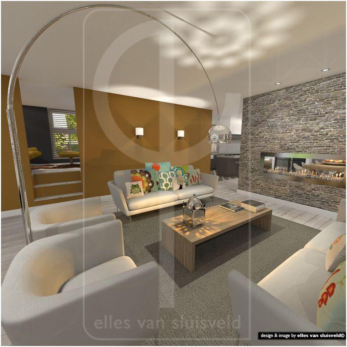 Woonkamer zithoek daarachter de tv kamer in de verhoogde ruimte boven de kelder ontwerp for Mezzanine in de woonkamer