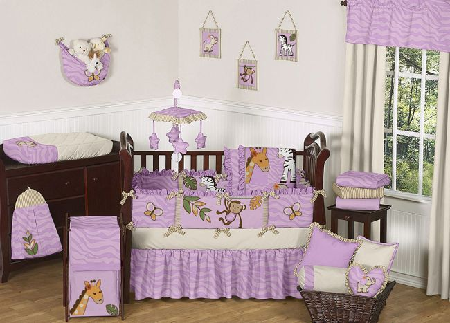 Girl Safari Nursery | ... PRINT JUNGLE ANIMAL SAFARI THEME BABY BEDDING  CRIB SET