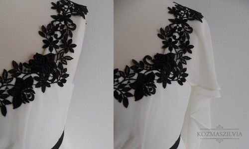Wedding dress, black and white, details