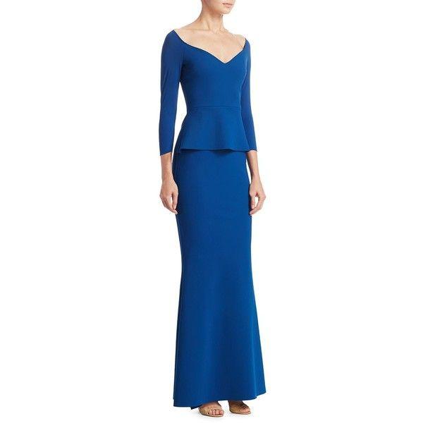 La Petite Robe di Chiara Boni Three-Quarter Formal Gown (€855) ❤ liked on Polyvore featuring dresses, gowns, v-neck dresses, blue formal dresses, blue dress, 3 4 sleeve formal dresses and formal evening dresses