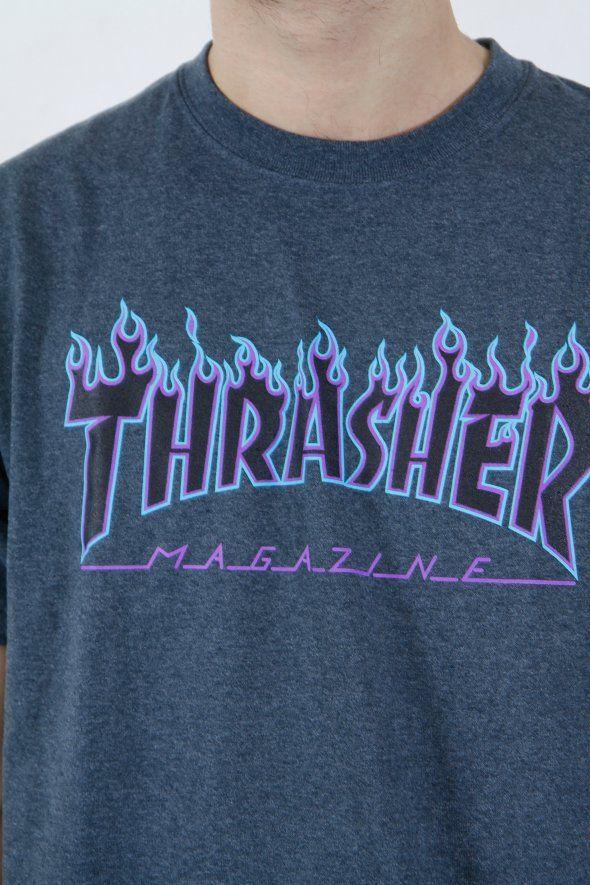 Thrasher - Flame Logo Tee,thrusher, mug, tee, black, white, shirt, hood, hoodie, rihanna, outfit, wallpaper, white, black, style, trend, fashion, men, boy, women, girl, skate, skater, skateboard, skateboarding, 2017, magazine, clothing, flame, fire, onfire, blue, goat, skull,