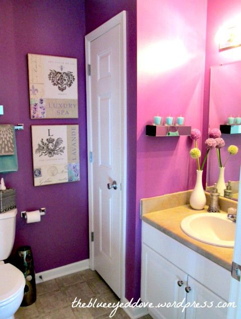 Purple bathroom simple girly touches to make this space for Bathroom decor purple