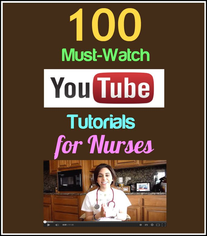 Here is a compilation of 100 of the best YouTube tutorials for nurses that you can use to learn new skills and update your knowledge in the clinical setting: http://www.nursebuff.com/2014/07/best-you-tube-videos-for-nurses/