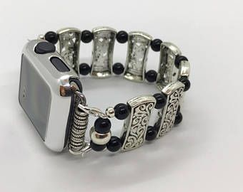 Black and Silver - Apple Watch Band 42MM, Apple Watch Band 38MM, Watch Bracelet, Ladies Wristlet, Ladies Watch Band
