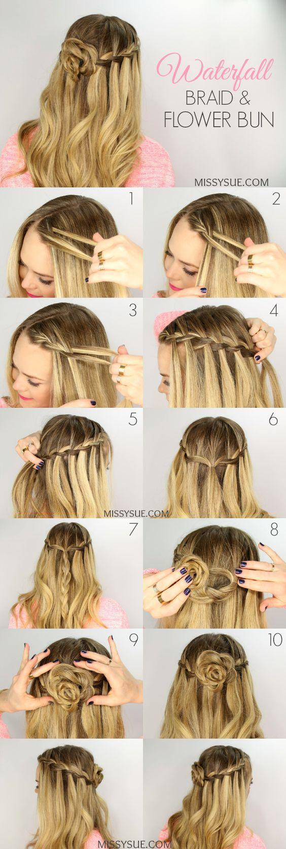 Waterfall Braid and Flower Bun tutorial / http://www.himisspuff.com/easy-diy-braided-hairstyles-tutorials/82/