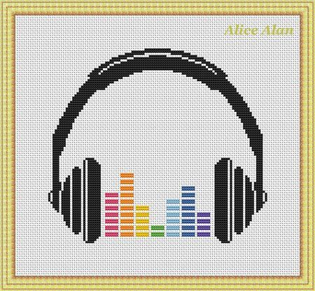 Cross Stitch Pattern Music Silhouette headphones Rainbow equalizer designed by me, so you have a unique opportunity to get an exclusive product.  Colors – 8  Fabric: 14 count White Aida Stitches: 100 x 89 Size: 7.14 x 6.36 inches or 18.14 x 16.15 cm Colours: DMC  Fabric: 16 count White Aida Stitches: 100 x 89 Size: 6.25 x 5.56 inches or 15.88 x 14.13 cm Colours: DMC PDF Pattern includes:  1. Enlarged Chart of the Design in Color coded symbols and in Black and White symbols. 2. List of DMC…